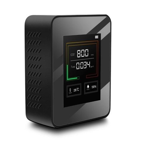 K03 Rilevatore di qualità dell'aria per uso domestico Tester di umidità per temperatura C02 multifunzione Display LCD con retroilluminazione