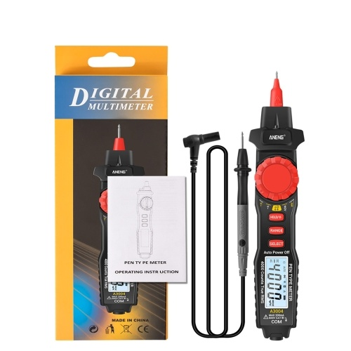 ANENG A3004 Digital Pen Multimeter Auto Range NCV AC/DC Voltmeter Ammeter Ohmmeter Resistance Meter with Capacitance Diode Test Continuity Alarm Backlit LCD Screen with Data Hold Flashlight