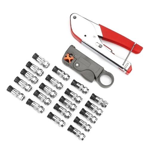 マルチツールワイヤーストリッパーワイヤースクイーズプライヤー同軸ケーブルコールドプレスクランプケーブル圧着工具セット