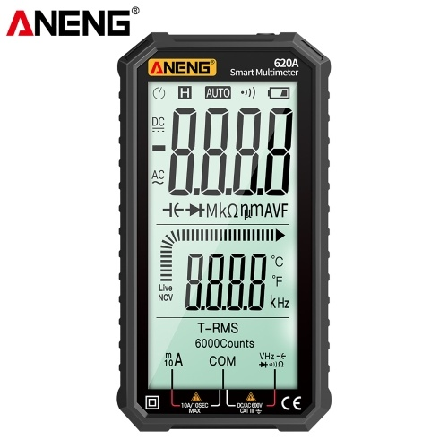 ANENG 4.7-Inch LCD Display AC/DC Digital Multimeter Ultraportable True-RMS Multimeter Auto-Ranging Multi Tester with Amp Volt Ohm Capacitance Continuity Temperature Frequency Diode Tests NCV Tester for Electronics Automotive HVAC Tech