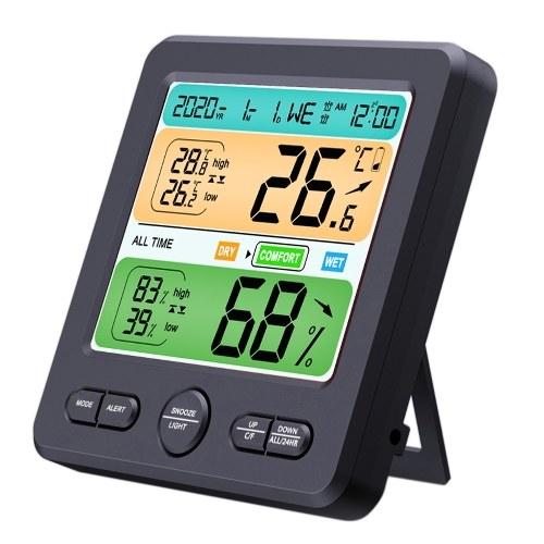 LCDディスプレイ壁掛け式デスクトップ屋内高精度温度湿度計家庭用電子目覚まし時計インテリジェントホーム