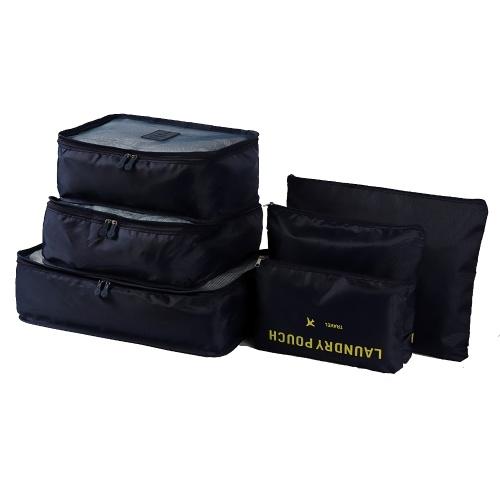 6pcsパッキングキューブ荷物バッグオーガナイザー耐久性のある旅行旅行荷物パッキングオーガナイザートイレタリーバッグブルゴーニュセット