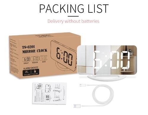 LED Mirror Clock Mini Digital Alarm Clock Table Clock with Snooze Function 3 Adjustable Brightness Auto-Adapt Backlight
