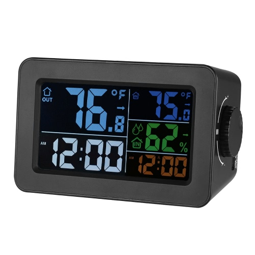 LCD ℃/℉ Digital Indoor/Outdoor Thermometer Hygrometer Clock Temperature Humidity Meter Alarm Clock Snooze Backlight Color Screen Display With Transmitter