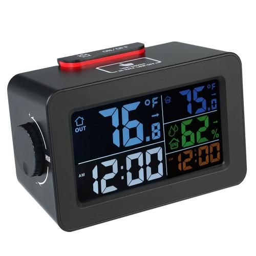 LCD℃/℉デジタル屋内/屋外温度計湿度計時計温度湿度計アラームクロックスヌーズバックライトカラースクリーンディスプレイ付きトランスミッタ