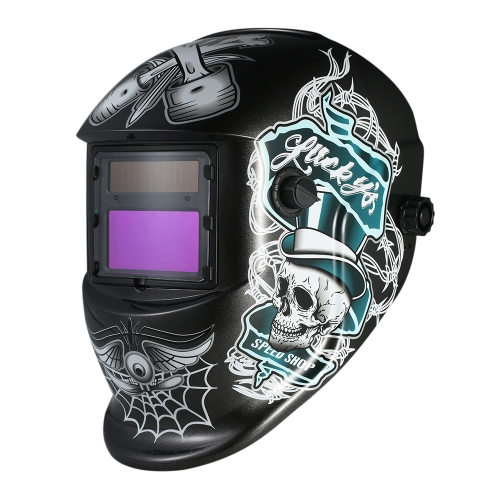 Casco per saldatura industriale Solar Power Auto Darkening Welding Helmet TIG MIG Mask Skull Grinding Hat Design