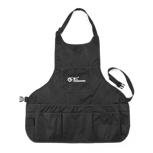 PENGGONG Waterproof Canvas Gardening Tool Apron Tools Bag with Pockets Adjustable Size Fits Men and Women
