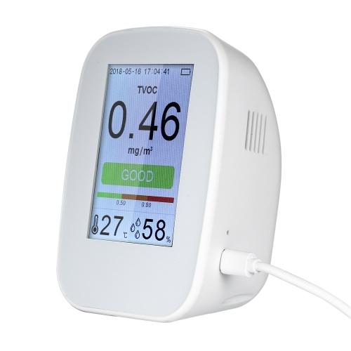 Rilevatore di qualità dell'aria portatile Indoor / Outdoor Digital Monitor per gas PM2.5 LCD TVOC Tester Misuratore di aria Analizzatore di aria con batteria ricaricabile