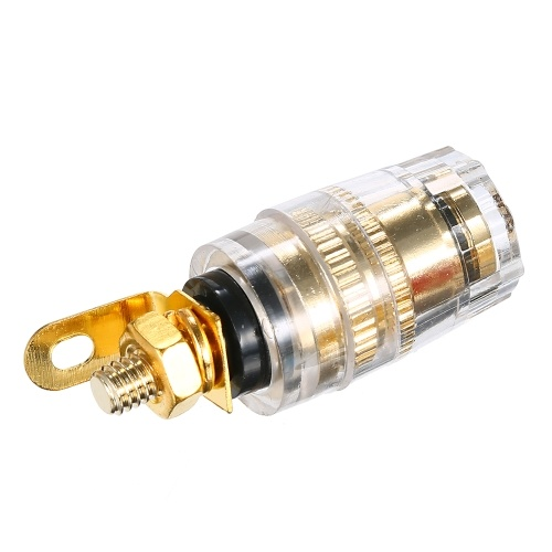 4mm Vergoldete Bananenstecker Pin Buchse Anschlussklemme Binding Post für Verstärker Lautsprecher 10 Stücke (Schwarz)
