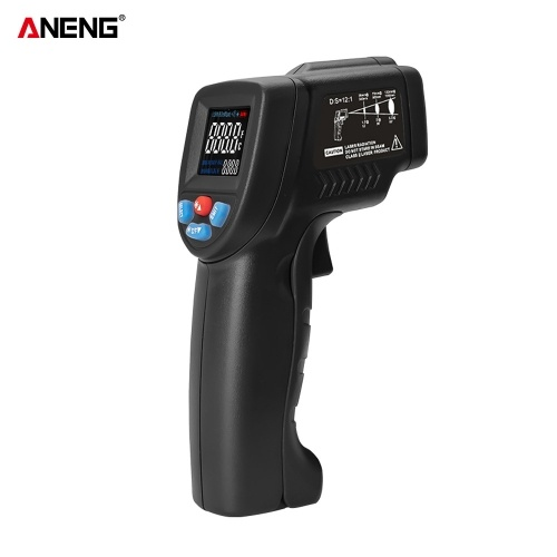 ANENG GM320B+ Non-contact Digital Infrared Thermometer Temperature Meter -50℃~380℃ (-58℉~716℉) Adjustable Emissivity with Color LCD Screen