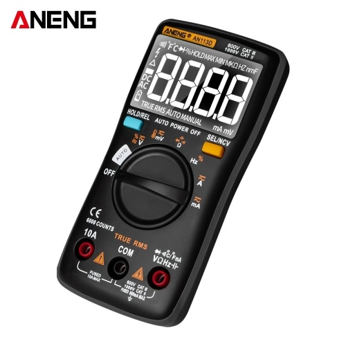 ANENG AN113D Digital Multimeter Electrical Meter 6000 Counts DC/AC Current Voltage Tester Meters True RMS Auto Ranging LCD Display Temperature Measurement