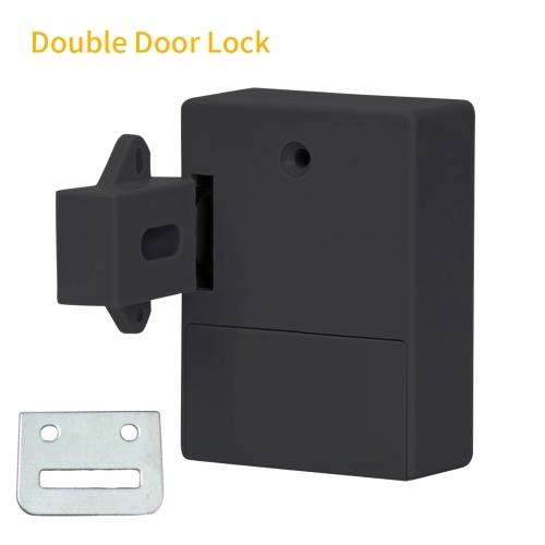 Smart Sensor Cabinet Lock Adesivo Cassetto nascosto Blocco scarpa Armadio Armadio Bagno Blocco induttivo digitale per porta a doppia apertura Nero T3