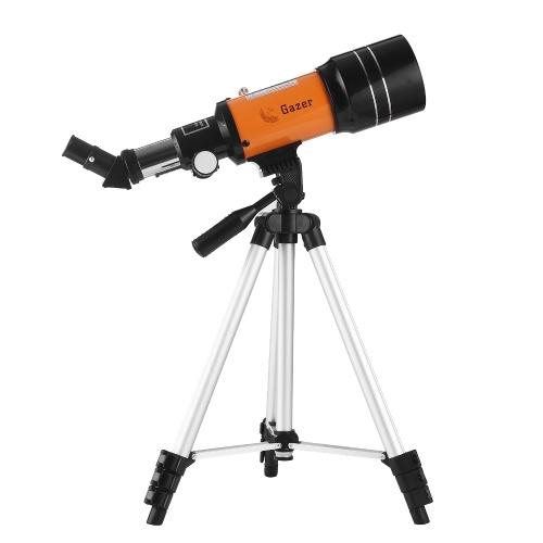 70mm天体望遠鏡150Xハイパワー単眼望遠鏡屈折望遠鏡スポッティングスコープ、5×24ファインダースコープ三脚ムーンフィルター3Xバーロウレンズ、星空観察バードウォッチングキャンプ用