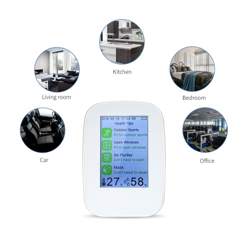 Portable Air Quality Detector Indoor/Outdoor Digital PM2.5 Formaldehyde Gas Monitor LCD HCHO & TVOC Tester Instrument Meter Air Analyzers with Rechargeable Battery фото