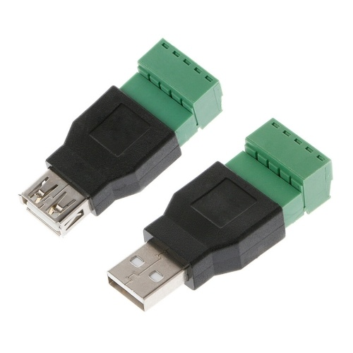 USB 2.0 Type A Female-Male to 5P Screw w- Shield Plug Terminal Adapter Connector