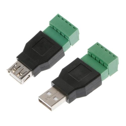USB 2.0 Typ A Buchse / Stecker auf 5P Schraube mit Shield Plug Terminal Adapter Connector