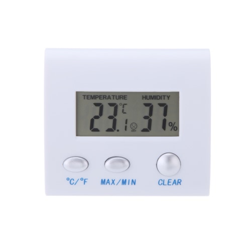 KKmoon LCD Digital Hygrometer Humidity Thermometer Temperature Meter Clock Home Indoor Use