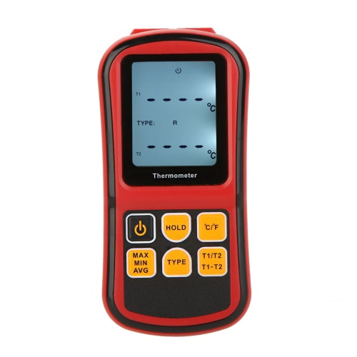 GM1312 Digital Thermometer Dual-channel Temperature Meter Tester for K/J/T/E/R/S/N Thermocouple with LCD Backlight