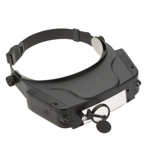 1.5x 3x 9.5x 11x Hands Free Adjustable Headband Magnifier Loupe Glasses 2 LED Lights with Reflective Mirror