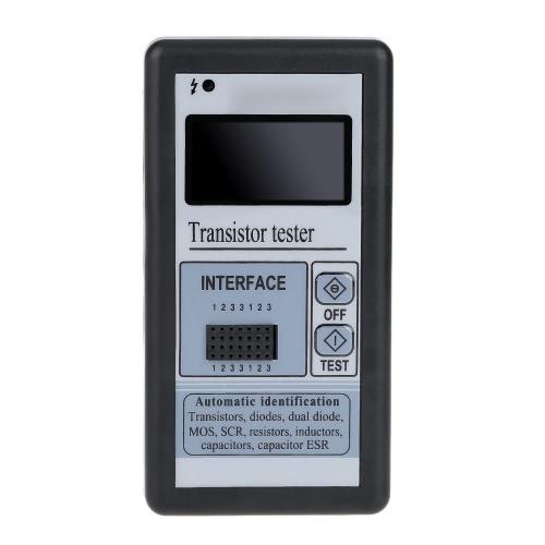 KKmoon Rétro-éclairage LCD multifonctionnel Transistor testeur Diode Thyristor ESR LCR capacimètre avec boîtier en plastique gris