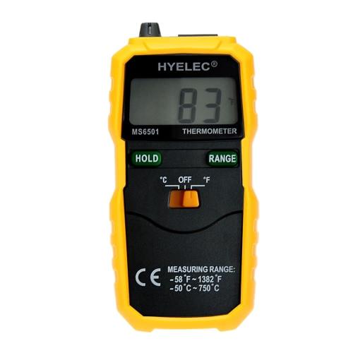 PEAKMETER MS6501 LCD Schermo -50℃~ 750℃ / -58℉~1382℉ Dati tengono K-Type LCD Termometro / Digitale Termometro Sensore