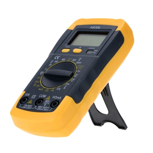 A830L Mini 31/2 Digital Multimeter DMM Voltmeter Ammeter Ohmmeter hFE Tester with Date Hold LCD Backlight 1.5V Battery Test Diode and Continuity Test