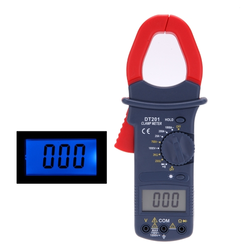 DT201 Auto Range Digital AC/DC Current Voltage Clamp Meter with Data Hold and Backlight Function