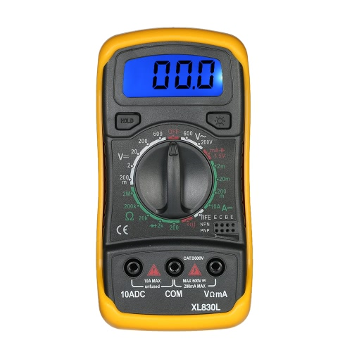 XL830L Mini Portable Data Tahan Backlight Digital Multimeter dengan Test Lead