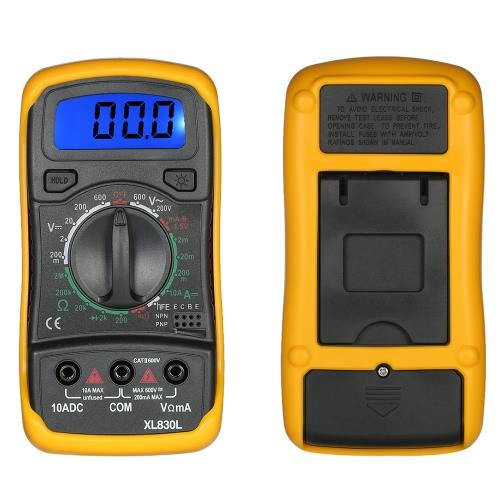 XL830L Mini portatile Dati tenere Backlight Multimetro Digitale con test Lead