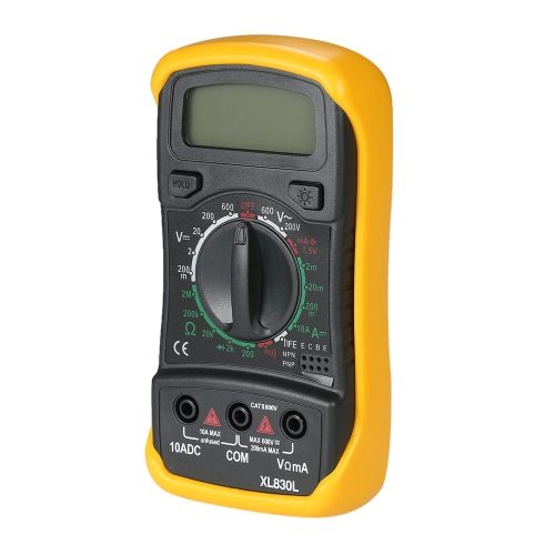 XL830L Mini Portable Data Hold Backlight Digital Multimeter with Test Lead