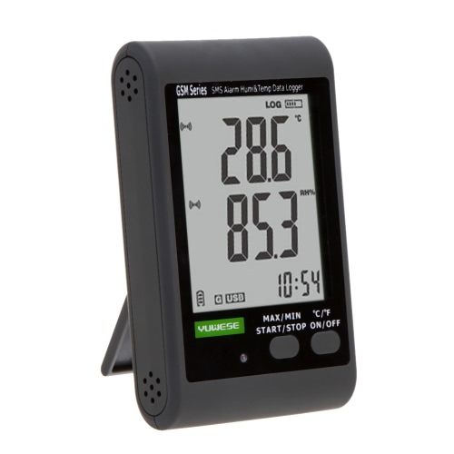GSM LCD Digital Temperature Humidity Data Recording Logger Meter Thermometer Hygrometer SMS Alarm PC Connecting