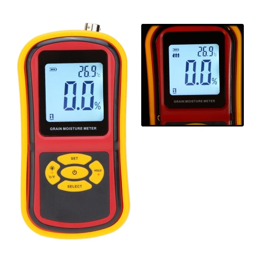 GM640 Portable Digital Grain Moisture Meter with Measuring Probe LCD Display Tester for Corn Wheat Rice Bean Wheat Hygrometer