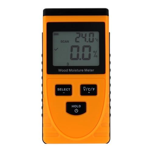 Profesional Digital de humedad madera medidor temperatura pantalla LCD de probador de humedad higrómetro