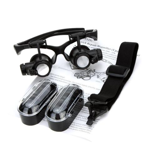 10X 15X 20X 25X Binocular Loupe Glasses Magnifier LED Light for Jewelry Appraisal Watch Repair