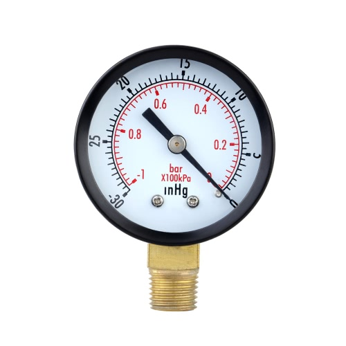 0~-30inHg 0~-1bar Mini Dial Air Pressure Gauge Meter Vacuum Manometer Double Scale