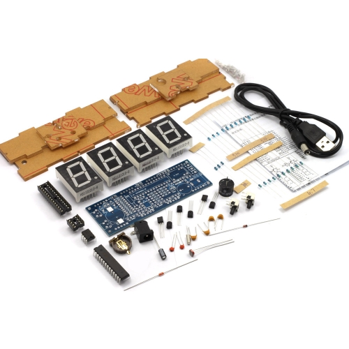 4-digit DIY Digital LED Clock Kit Light Control Temperature Display Transparent Case Blue