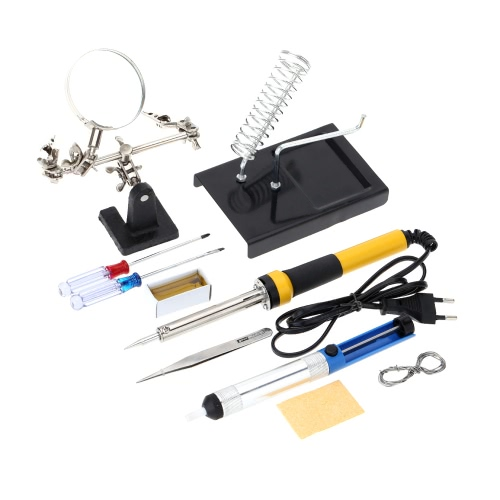 FZ606 220V-240V 60W Household Soldering Iron 10pcs Tools Soldering Iron with Magnifier Tin Wire Solder Sucker Rosin
