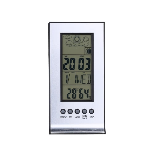 Alarm Clock Forecast Calendar Barometer Hygrometer Wireless Weather Station Multi-function Electronic Temperature and Humidity Meter