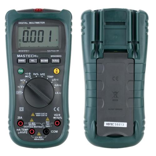 Mastech MS8260G Digital Scale LCD Handheld Multimeter DC AC Voltage Current Resistance Diode Temperature Tester with Transistor Test Socket