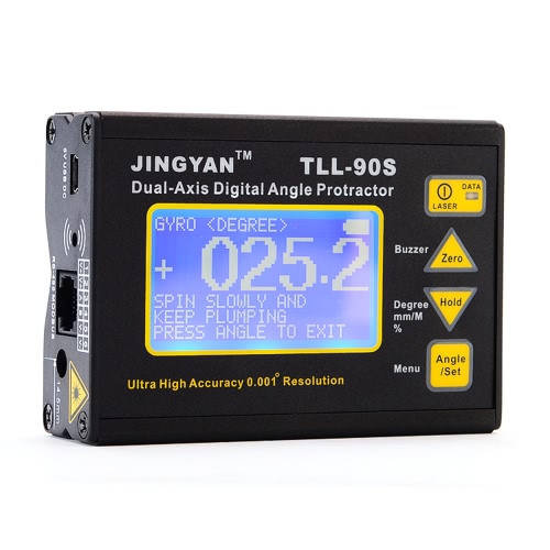 TLL-90S Super High Precision Angle Meter 0.005 Professional Dual-axis Digital Laser Level Inclinometer Angle Protractor with LCD Display 100-240V 50-60Hz