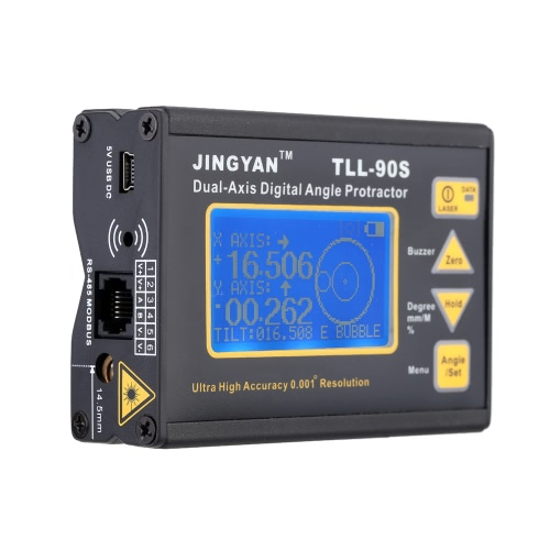 TLL-90S Super High Precision Angle Meter 0.005 Professional Dual-axis Digital Laser Level Inclinometer Angle Protractor