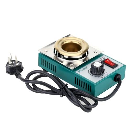Pro'sKit 220-550 ° Titanio placcatura in acciaio inox a saldare Pot forno di crogiolo di stagno fuso regolabile temperatura strumento di riparazione di saldatura