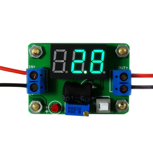 2A DC-DC Digital Synchronous Rectifier Step-down Power Supply Module 4.5-24V/0.93-20V Green LED Voltmeter