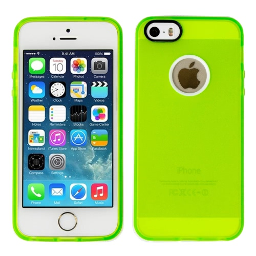 Tampa da caixa do silicone com moldura branca para Apple IPhone 5 / 5S verde