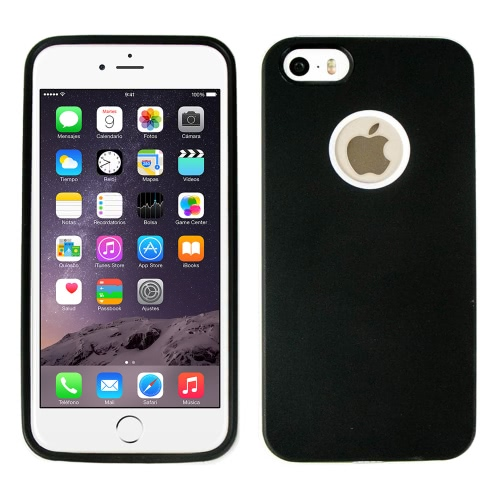 Tampa da caixa do silicone com moldura branca para Apple IPhone 6 preto
