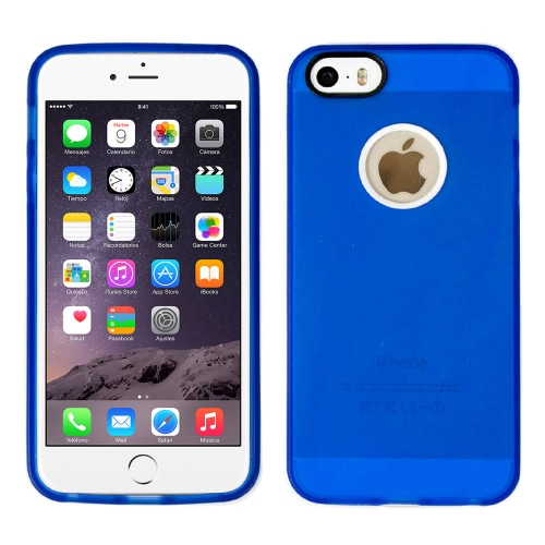 Tampa da caixa do silicone com moldura branca para Apple IPhone 6 azul escuro