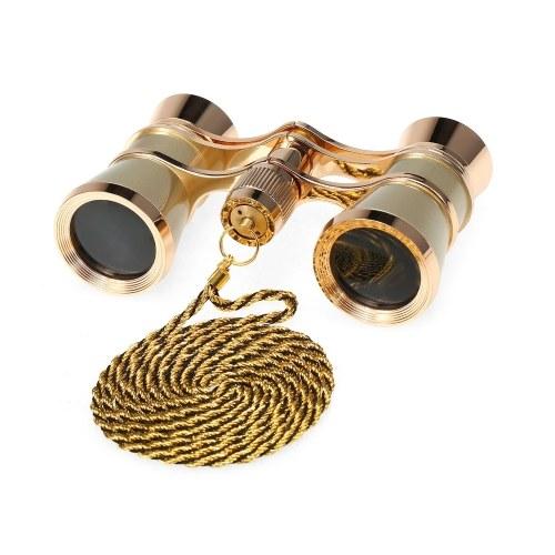 KKmoon 3×25 ヴィンテージ オペラグラス ミニシアター双眼鏡 コンパクト 軽量 双眼鏡 チェーン付き キャリングケースとクリーニングクロス 大人用 子供用