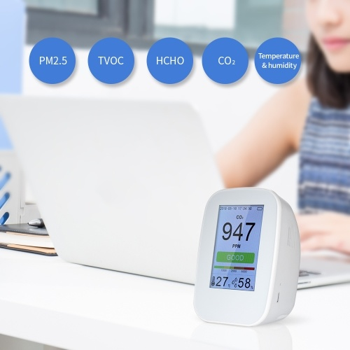 KKMOON Multifunctional Air Quality Detector Indoor/Outdoor HCHO & TVOC Tester CO2 Meter Monitor CO₂ Tester with Rechargeable Battery