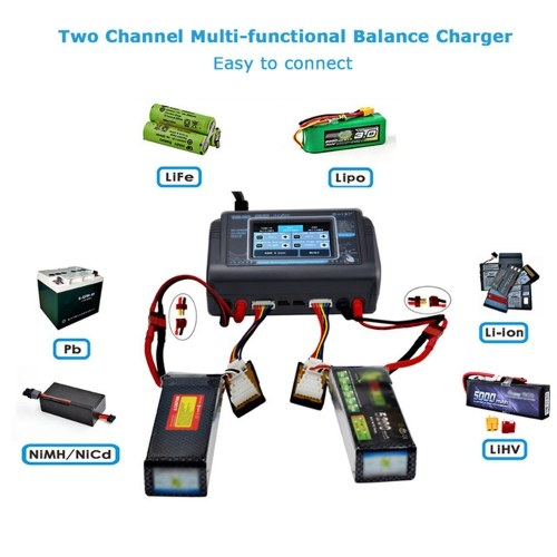 T240 Charge Tool Dual Channel Touch-screen Balance Discharger For RC Models Toys and Battery