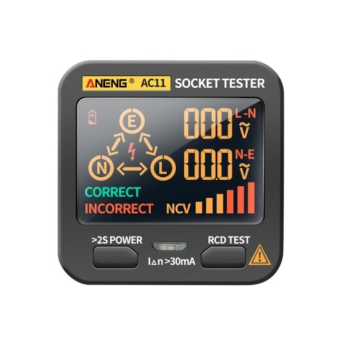 ANENG AC11ソケットテスター電気漏れ検出器LCDディスプレイ